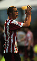 Photo: Tony Oudot.<br /> Brentford v Lincoln City. Coca Cola League 2. 27/10/2007.<br /> Brentford match winner Sammy Moore applauds the fans at the end of the game