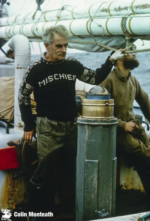 Explorer sailor HW (Bill) Tilman skipper of Patanela, bound for Heard Island, Sthn Indian Ocean.
