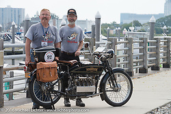 Robert Addis (L) and Brian Pease with their 4-cylinder 1916 Henderson class-2 motorcycle before the start of the Motorcycle Cannonball Race of the Century Run. Atlantic City, NJ, USA. September 9, 2016. Photography ©2016 Michael Lichter.