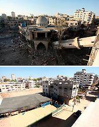 07.07.2015, Gaza city, PSE, Nahostkonflikt zwischen Israel und Palästina, Vorher und Nachher, im Bild eine Combo von zwei Bildern das obere ist im Krieg des Sommers 2014 zwischen Palästina und Israel und aufgenommen worden, das untere am 07. Juli 2015 // A combination of pictures made on July 7, 2015 shows (top) the collapsed minaret of a destroyed mosque in Gaza City, on July 30 2014 after it was hit in an overnight Israeli strike, in Gaza City, and the same place (bottom) on July 7, 2015, a year after the 50-day war between Israel and Hamas' militants, Palestine on 2015/07/07. EXPA Pictures © 2015, PhotoCredit: EXPA/ APAimages/ Ashraf Amra<br /> <br /> *****ATTENTION - for AUT, GER, SUI, ITA, POL, CRO, SRB only*****