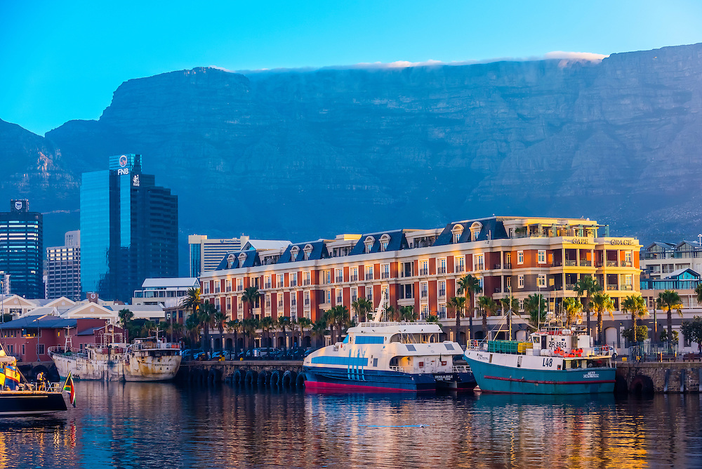 Cape Grace Hotel with Central Business District and Table Mountain behind, Victoria & Alfred Waterfront, Cape Town, South Africa.