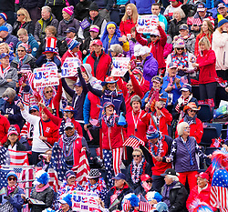 Solheim Cup 2019 at Centenary Course at Gleneagles in Scotland, UK. Team USA fans beside the 1st tee on Sunday morning.
