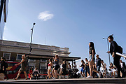 In the week that many more Londoners returned to their office workplaces after the Covid pandemic and the summer holidays, commuters make their way southwards at the southern end of London Bridge in Southwark, on 8th September 2021, in London, England.
