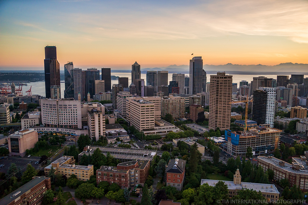 Seattle University & Swedish Medical Center (foreground), First Hill & Downtown Seattle