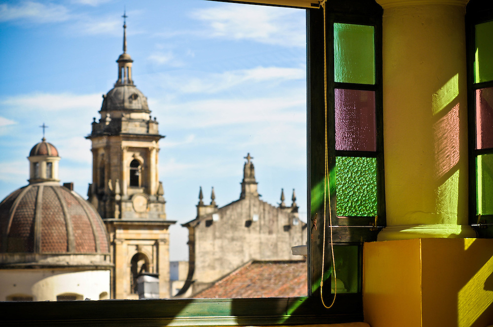 Bogota's Catedral Primada as seen from the rooftop dining room of the Hotel de la Opera.
