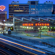 The side of Union Station and the Western Auto Lofts sign in downtown Kansas City Missouri.