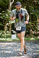 Rosendale, New York  - Tim Ela of Clifton Park nears the finish line  of the Shawangunk Ridge Trail Run/Hike on Sept. 16, 2017. Ela won the 70-race in 18 hours and 11 mins, beating the previous course record - set last year by Zack Price - by nearly 3 hours.
