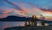 Sunset over Sheep Mountain seen from Buffalo Bill State Park, North Shore Campground, Buffalo Bill Reservoir, Cody, Wyoming, USA. This image was stitched from multiple overlapping photos.