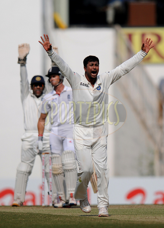 Pragyan Ojha of India appeals unsuccessfully for the wicket of Nick Compton of England during day four of the 4th Airtel Test Match between India and England held at VCA ground in Nagpur on the 16th December 2012..Photo by  Pal Pillai/BCCI/SPORTZPICS .