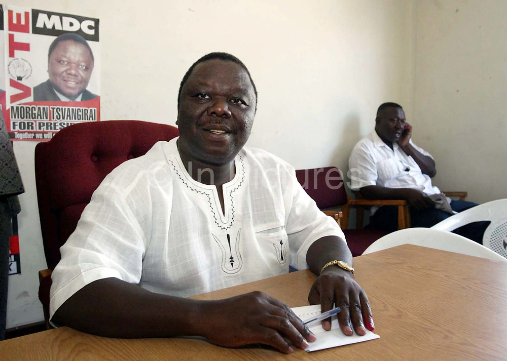 Morgan Tsvangirai leader of the MDC in Zimbabwe, prepares to chair an emergency NEC meeting to discuss a strategy after the general election.