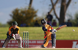 Mangaliso Mosehle of Gauteng attacks a delivery during the Africa T20 cup pool D match between Boland and Gauteng held at the Boland Park cricket ground in Paarl on the 25th September 2016.<br /> <br /> Photo by: Shaun Roy/ RealTime Images