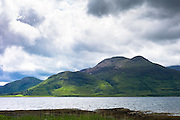 Panoramic view across Loch Na Keal to Ben More mountain on Isle of Mull, the Inner Hebrides and Western Isles in West Coast of Scotland