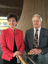 Ukip's new leader Diane James with Neil Hamilton at the Welsh Assembly in Cardiff, as she hopes she can unite her party's Welsh Assembly Members amidst a bitter row between two of its most senior figures.