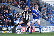 Notts County forward Jonathan Stead (30) battles with Chesterfield defender Alex Whitmore (33) during the EFL Sky Bet League 2 match between Chesterfield and Notts County at the b2net stadium, Chesterfield, England on 25 March 2018. Picture by Jon Hobley.
