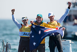 10.08.2012, Bucht von Weymouth, GBR, Olympia 2012, Segeln, im Bild Belcher Mathew, Page Malcolm, (AUS, 470 Men) // during Sailing, at the 2012 Summer Olympics at Bay of Weymouth, United Kingdom on 2012/08/10. EXPA Pictures © 2012, PhotoCredit: EXPA/ Juerg Kaufmann ***** ATTENTION for AUT, CRO, GER, FIN, NOR, NED, .POL, SLO and SWE ONLY!
