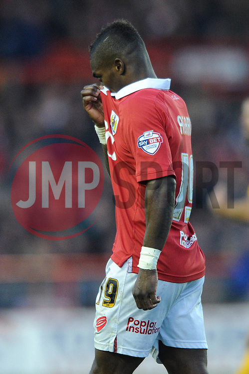 Bristol City's Kieran Agard cuts a dejected figure - Photo mandatory by-line: Dougie Allward/JMP - Mobile: 07966 386802 - 22/11/2014 - Sport - Football - Bristol - Ashton Gate - Bristol City v Preston North End - Sky Bet League One