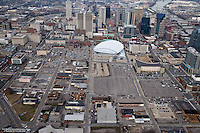 Aerial photo of Downtown Nashville showing the site for the new Music City Center.