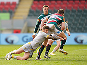 Wasps Full-back Matteo Minozzi tacklesLeicester Tigers full-back Freddie Steward during a Gallagher Premiership Round 10 Rugby Union match, Friday, Feb. 20, 2021, in Leicester, United Kingdom. (Steve Flynn/Image of Sport)