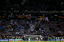 Eintracht Frankfurt players stand in front of the home fans at the end of the UEFA Europa League Semi final, first leg match at The Frankfurt Stadion, Frankfurt.