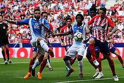 Marc Navarro (L) and Fernando Torres (R) compete during a Spanish league match between Atletico de  Madrid and Rcd Espanyol at Wanda Metropolitano Stadium, Madrid, Spain, on May 6, 2018. The match ended, Atletico de Madrid 0 - Rcd Espanyol 2 (Credit Image: © Edward Peters Lopez/Xinhua via ZUMA Wire)