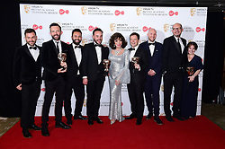 Ant McPartlin, Joan Collins and Declan Donnelly with the award for Best Entertainment Programme in the press room at the Virgin TV British Academy Television Awards 2017 held at Festival Hall at Southbank Centre, London.