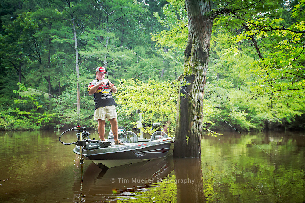 Bass Pro fisherman and guide Homer Humphreys fishes along Bayou Dorcheat in Webster Parish. Bayou Dorcheat is a state designated scenic stream and it is preserved from the Arkansas state line to its end at Lake Bistineau State Park.