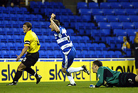 Photograph: Scott Heavey.<br />Reading v Watford. Nationwide Division One. 29/11/2003.<br />Nicky Forster slots home the first of the match for Reading