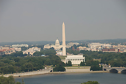 Washington DC; USA: The Washington Monument, Lincoln Memorial, and Capitol, as seen from Arlington, VA.Photo copyright Lee Foster Photo # 2-washdc82790