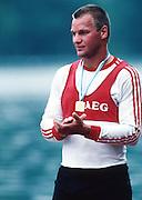 Banyoles, SPAIN. Men's Single Sculls, 1992 Olympic Regatta, GER M1X Thomas LANGE, <br /> Wednesday  19/02/2014  [Mandatory Credit: Peter Spurrier/Intersport<br /> Images]