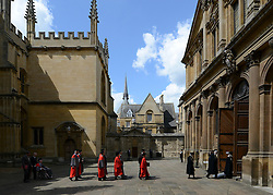 © Licensed to London News Pictures. 20/06/2012. Oxford, UK Aung San Suu Kyi (centre front) arrives at Oxford University today 20 June 2012 ahead of receiving an Honary Degree at the Encaenia Ceremony.  The Burmese democracy leader is to receive an honorary doctorate in civil law at annual ceremony honouring the brightest and best. Other honorees include: former MI5 Director General Baroness Manningham-Buller; author David John Moore Cornwell (aka John le Carre); Harvard University president Professor Drew Gilpin Faust; and Sony chief executive Sir Howard Stringer. Photo credit : Stephen Simpson/LNP