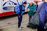 Wimbledon midfielder Andy Barcham (17) signing autographs on arriving during the The FA Cup 3rd round match between Fleetwood Town and AFC Wimbledon at the Highbury Stadium, Fleetwood, England on 5 January 2019.