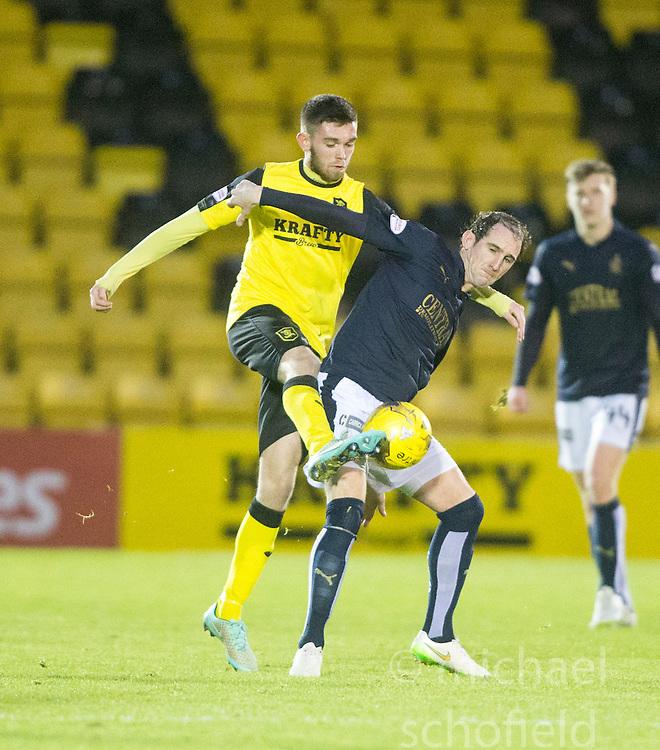 Livingston Samuel Stanton and Falkirk's Mark Kerr. <br /> Livingston 1 v 1 Falkirk, Scottish Championship game at The Tony Macaroni Arena at 23/1/2016.