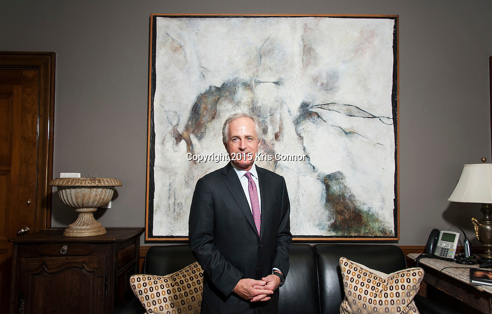 Senator Bob Corker(R-TN) poses for a portrait after an interview about the different pieces Tennessee art that line the walls of his Washington DC senate office in the Dirksen Senate Office Building in Washington DC on December 10, 2015. Photo by Kris Connor