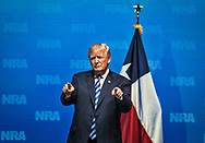 President Donald Trump speaks at the NRA-ILA Leadership Forum during the NRA Annual Meeting & Exhibits on <br /> May 4, 2018 in Dallas, Texas at the Kay Bailey Hutchison Convention Center.