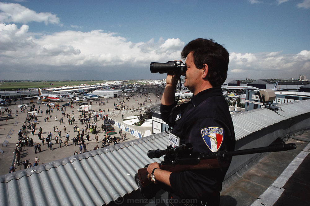 Security at the Paris Air Show, at Le Bourget Airport, France. Held every other year, the event is one of the world's biggest international trade fairs for the aerospace business.