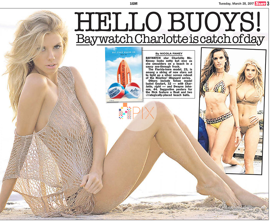 Soon to be seen in the new Baywatch movie, Charlotte McKinney is the 'catch of the day' in The Sun, UK.<br />