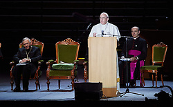 October 31, 2016 - Malm√, Sweden - Bishop Munib A. Younan, President of Lutheran World Federation, Pope Francis,  are seen on stage during the 'Together in Hope' event at Malmo Arena on October 31, 2016 in Malmo, Sweden. The Pope is on 2 days visit attending Catholic-Lutheran Commemoration in Lund and Malmo.  (Credit Image: © Aftonbladet/IBL via ZUMA Wire)