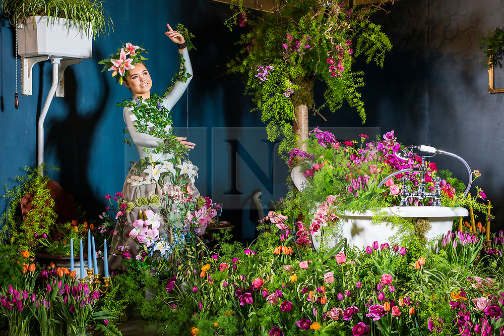 © Licensed to London News Pictures. 25/04/2018. Harrogate UK. Dancer Georgia Paton Durrant wears a flower dress in bathroom of the Green House display at this years Harrogate Flower Show in which starts tomorrow.  The GREENhouse has been designed to blur the lines between house and garden, creating a home infused with nature complete with living wallpaper,cascading flower shower, an aromatic bed of herbs and even a vege-table. Photo credit: Andrew McCaren/LNP