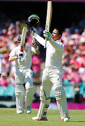 Australia's Usman Khawaja celebrates his century during day two of the Ashes Test match at Sydney Cricket Ground.