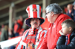 A Sunderland fan in the stands shows his support during the Sky Bet League One Play-off, Semi Final, First Leg at the Stadium of Light, Sunderland.