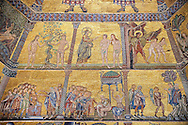 The Medieval mosaics of the ceiling of The Baptistry of Florence Duomo ( Battistero di San Giovanni ) showing Adam & Eve being tempted by Satin in the form of a snake and being expelled from the Garden of Eden by the Archangel Gabriel ( top panel from left to right),  Started in 1225 by Venetian craftsmen in a Byzantine style and completed in the 14th century. Florence Italy .<br /> <br /> If you prefer you can also buy from our ALAMY PHOTO LIBRARY  Collection visit : https://www.alamy.com/portfolio/paul-williams-funkystock/byzantine-art-antiquities.html . Type -   Florence   - into the LOWER SEARCH WITHIN GALLERY box. Refine search by adding subject etc<br /> <br /> Visit our BYZANTINE ART PHOTO COLLECTION for more   photos  to download or buy as prints https://funkystock.photoshelter.com/gallery-collection/Roman-Byzantine-Art-Artefacts-Antiquities-Historic-Sites-Pictures-Images-of/C0000lW_87AclrOk .<br /> <br /> Visit our ITALY PHOTO COLLECTION for more   photos of Italy to download or buy as prints https://funkystock.photoshelter.com/gallery-collection/2b-Pictures-Images-of-Italy-Photos-of-Italian-Historic-Landmark-Sites/C0000qxA2zGFjd_k<br /> .<br /> <br /> Visit our MEDIEVAL PHOTO COLLECTIONS for more   photos  to download or buy as prints https://funkystock.photoshelter.com/gallery-collection/Medieval-Middle-Ages-Historic-Places-Arcaeological-Sites-Pictures-Images-of/C0000B5ZA54_WD0s