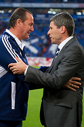 15.10.2011, Veltins Arena, Gelsenkirchen, GER, 1. FBL, FC Schalke 04 vs. 1. FC Kaiserslautern, im Bild Huub Stevens (Trainer Schalke) und Ex-Schiedsrichter Markus Merk // during FC Schalke 04 vs. 1. FC Kaiserslautern at Veltins Arena, Gelsenkirchen, GER, 2011-10-15. EXPA Pictures © 2011, PhotoCredit: EXPA/ nph/  Kurth       ****** out of GER / CRO  / BEL ******