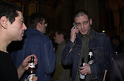 Tim Noble and Dinos Chapman. Smile1-D in association with Emporio Armani.  Wapping Power Station. 3 April 2001. © Copyright Photograph by Dafydd Jones 66 Stockwell Park Rd. London SW9 0DA Tel 020 7733 0108 www.dafjones.com