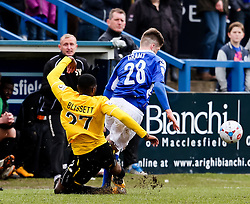 Bristol Rovers' Nathan Blissett fouls Macclesfield Town's Alex Grant - Photo mandatory by-line: Neil Brookman/JMP - Mobile: 07966 386802 - 28/03/2015 - SPORT - Football - Macclesfield - Moss Rose - Macclesfield Town v Bristol Rovers - Vanarama Football Conference