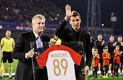 Davor Suker, president of the Croatian Football Federation with Mario Mandzukic prior to the UEFA Nations League football match between Croatia and Spain, on November 15, 2018, at the Maksimir Stadium in Zagreb, Croatia. Photo by Morgan Kristan / Sportida