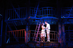 "© Licensed to London News Pictures. 07/08/2013. London, England. Pictured: Elena Sancho Pereg as Maria and Liam Tobin as Tony. The musical ""West Side Story"" returns to Sadler's Wells Theatre from 7 August to 22 September 2013 before embarking on a nationwide tour. Book by Arthur Laurents, music by Leonard Bernstein and lyrics by Stephen Sondheim. The entire original production directed and choreographed by Jerome Robbins. With Elena Sancho Pereg as Maria and Liam Tobin as Tony. Photo credit: Bettina Strenske/LNP"