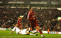 Photo: Paul Greenwood/Sportsbeat Images.<br />Liverpool v Bolton Wanderers. The FA Barclays Premiership. 02/12/2007.<br />Liverpool's Fernando Torres runs towards the Kop in celebration after scoring