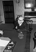 "World famous composer and conductor Igor Stravinsky, who is in Dublin to conduct the Radio Eireann Symphony Orchestra in his own work ""The Rites of Spring"", visits President Eamon De Valera at Áras an Uachtarain..03.06.1963"