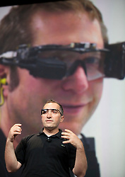 Google Glass creator Babak Parviz discusses Project Glass, a wearable personal computer device, during the keynote speech at  the Google I/O Developer Conference in San Francisco, California.