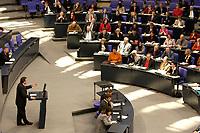 19 DEC 2003, BERLIN/GERMANY:<br /> Gerhard Schroeder, SPD, Bundeskanzler, waehrend seiner Rede, im Hintergrund die SPD Bundestagsfraktion, Sondersitzung des Bundestages zur Abstimmung ueber das Reformpaket zu Steuern und Arbeitsmarkt, Plenum, Deutscher Bundestag<br /> IMAGE: 20031219-01-035<br /> KEYWORDS: Gerhard Schröder, Speech, Uebersicht, Übersicht, SPD Fraktion